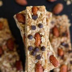 No Bake 5 Ingredient Granola Bars. Super easy chewy no-bake granola bars come together in only ONE pot or bowl with only minutes to prep. Perfect grab & go snacks. No Bake Granola Bars, Healthy Granola Bars, Homemade Granola Bars, Whole Food Recipes, Snack Recipes, Dessert Recipes, Cooking Recipes, Bar Recipes, Desserts