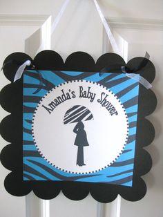 Zebra Blue & Black Baby Shower It's A Girl by DreamPartyPaperie, $25.00