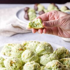 This is a delicious, melt in your mouth, moist, soft cream cheese pistachio cookies recipe for everyone to enjoy. They are my most requested cookie and so addicting! Pistachio Cookies, Pistachio Cheesecake, Pistachio Cream, Cookie Recipes, Dessert Recipes, Biscuits, Muffin, Cookies And Cream, Savoury Cake
