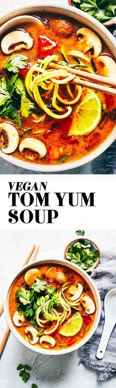 A vegan take on Thai Hot & Sour Soup. Zucchini noodles add freshness and crunch to this flavorful soup. A splash of coconut milk provides a hint of creaminess, without the dairy. (V+GF)