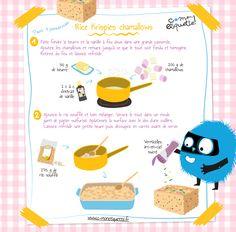 LES RICE-KRISPIES CHAMALLOWS. Miam miam… on combine le croquant des céréales au riz soufflé avec la douceur des chamallows.