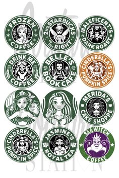 12 Instant download Disney Princess Starbucks by CoutureStation