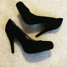 Black Suede Pumps Black suede pumps. Worn only once, bc I never wear heels. And they are now too small. Excellent condition Forever 21 Shoes Heels