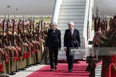Theresa May, U.K. prime minister, left, walks with Edward Oakden, U.K.'s ambassador to Jordan, on her arrival in Amman, Jordan, on Monday, April 3, 2017. May began a visit to Jordan and Saudi Arabia on Monday, with the goal of building security and commercial ties. Photographer: Simon Dawson/Bloomberg via Getty Images