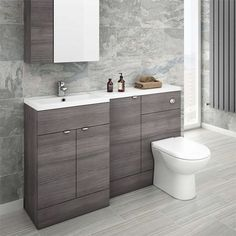 Brooklyn Grey Avola Combination Furniture Pack - Wide, refresh your bathroom with one of our stunning modern bathroom furniture at Victorian Plumbing UK Grey Bathroom Furniture, Contemporary Bathroom Furniture, Grey Furniture, Contemporary Interior, Furniture Ideas, Grey Bathrooms Designs, Modern Bathroom Design, Toilet And Sink Unit, Toilet Sink