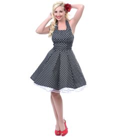 2012 Homecoming Dresses Short B & W Polka Dot Flirty Cotton Swing Dress - XS to XL - Unique Vintage - Prom dresses, retro dresses, retro swimsuits.