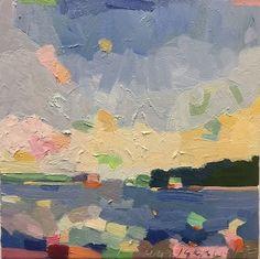 "At Willard Beach, South Portland Maine, Casco Bay. oil on canvas 12 x 12"". www.henryisaavs.com"