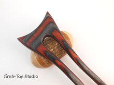 Hair Fork Wood Hair Art Grahtoe Handmade 2 Prong by grahtoestudio, $65.00
