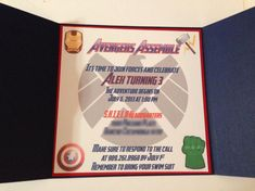 Avengers Invitation Superhero Party by JJsPersonalTouch on Etsy Avenger Party, Captain America Birthday, Avengers Birthday, 4th Birthday Parties, Diy Invitations, Superhero Party, Party Time, Elementary Counseling, Career Counseling