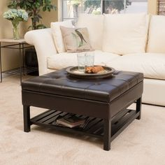 Miriam Wood Square Storage Ottoman Bench With Bottom Rack By Christopher  Knight Home (Brown) (Bonded Leather)