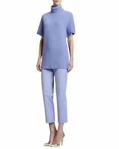 Basketweave Cashmere Blend Short-Sleeve Sweater & Audrey Side-Zip Capri Pants by St. John Collection at Neiman Marcus.