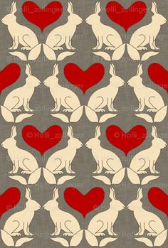rabbit_and_heart_linen fabric by holli_zollinger for sale on Spoonflower - custom fabric, wallpaper and wall decals