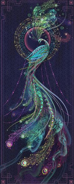 though this is a peacock something like this in reds & oranges would make an awesome firebird illustration Pfau Tattoo, Art Fractal, Peacock Tattoo, Tattoo Feather, Tattoo Bird, Art Graphique, Painting & Drawing, Amazing Art, Fantasy Art