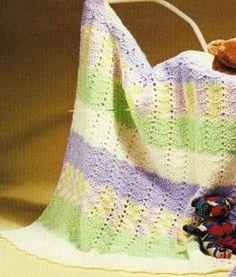 Pastel Rainbow Baby Afghan - free crochet pattern