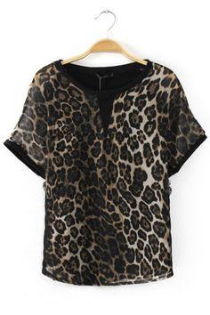 Lace Cool Leopard Print T-shirt