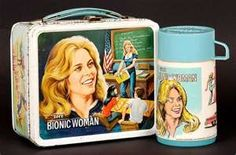 Bionic Woman lunch box...had this!!!!  I used a paperclip and scratched braces on her teeth! LOL