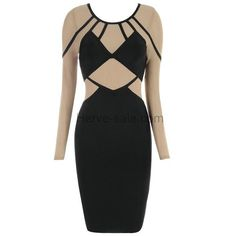 Herve Leger Black And Nude Mesh Longsleeve Bandage Dress ECS013808