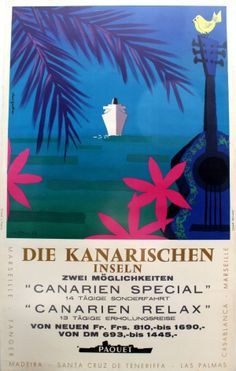 Canary Islands Paquet Cruise Ship Line, 1950s - original vintage poster by Alain Gauthier listed on AntikBar.co.uk