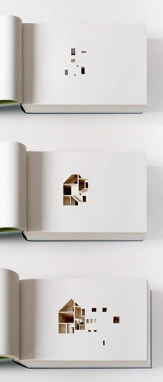 Laser-cut models.  This is an architecture book with more descriptive power than words alone could possible achieve. The book consists of 454 pages each laser-cut to produce a section representing 2.2cm of the artists actual house in Copenhagen, Denmark.
