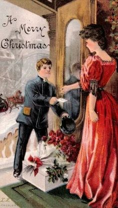 Antique Embossed Christmas Postcard, Lady In Red, Delivery Boy With Package, A Merry Christmas Vintage Christmas Images, Old Fashioned Christmas, Christmas Scenes, Christmas Past, Victorian Christmas, Retro Christmas, Vintage Holiday, Christmas Pictures, Christmas Greetings