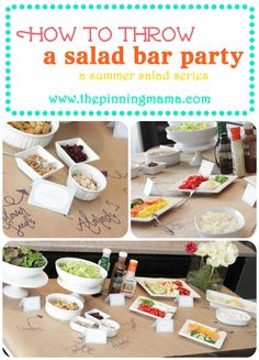 A salad bar party is a fun way to get guests interacting with each other. Why have one big salad when you can have 5 little ones?! www.thepinningmama.com