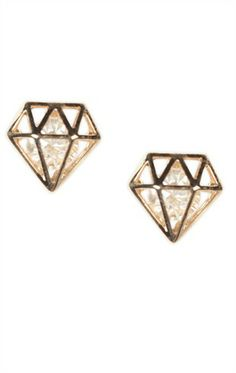 Deb Shops #Stud #Earrings with Caged Diamond Shape and Stone Center $8.05