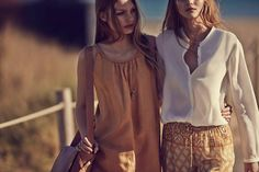 Kate and Annika wear neutral hues in the lookbook