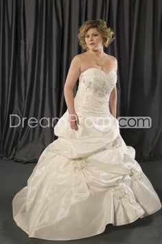 Gorgeous A-line Sweetheart Floor-Length Chapel Pick-ups & Beadings Plus Size Wedding Dresses