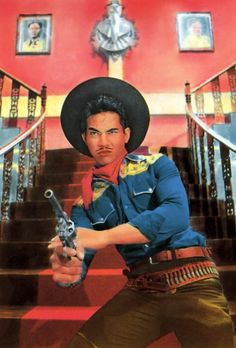 An pseudo-retro publicity still for the 2000 Thai western Tears of a Black Tiger.