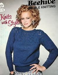 Patons 451 Knits with Style Beehive Double Knitting for Men and Women Double Knitting, Knit Crochet, Crochet Patterns, Graphic Sweatshirt, Beehive, Sweatshirts, Lady, Knits, Women