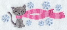 Wrapped up in Winter Cat on sale for $1 through 1/27/15 at Embroidery Library! -
