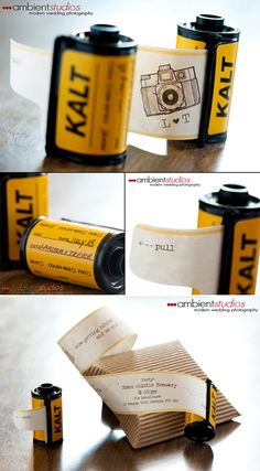 Film canister wedding invitation; Photos by Ambient Studios