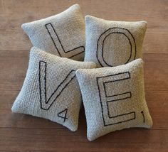 And what's not to love about these little pillows?  Scrabble Letter Love Pillows  Bowl Fillers  by RyensMarketplace, $20.00