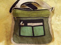 Nice Green & Beige Hemp Purse Pouch by doyourememberwhen on Etsy, $25.00