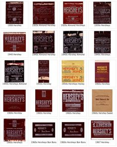 Hershey bar, 1908 to 1967 With over 640 past to present flattened candy wrapper labels to look at, it's fun to spend some time at the Candy Wrapper Archive. The Archive is a project of Richar… Hershey Candy, Hershey Chocolate, Hershey Bar, Hot Chocolate, Printable Labels, Food Labels, Printables, Miniature Food, Miniature Dolls