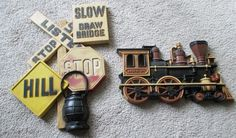 """For sale in our Ebay store - nice additions to the """"man cave""""...click on photo  Vintage 70's HOMCO Train Steam Engine Burwood Products Co. Road Sign Wall Decor #HOMCOBurwoodProductsCompany #VintageRetro #HOMCO #retro #vintage #mancave #train #road #railroad #sign #decor #plaque #70's"""