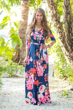 Feeling The Magic Floral Maxi Navy - The Pink Lily