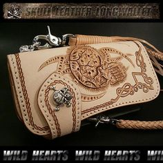 Biker wallet/Leather/Skull/Carved wallet/WILD HEARTS/ワイルドハーツ