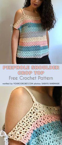 Peephole Shoulder Crop Top Free Crochet Pattern - Sizes from S to XL #freecrochetpatterns #crochettop #croptop #summerstyle