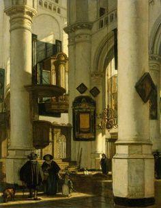 Johannes Vermeer - Interior of a Protestant, Gothic Church, with a Gravedigger in the Choir, Emanuel de Witte, 1669 Johannes Vermeer, Delft, Baroque Painting, Dutch Golden Age, Mondrian, Dutch Painters, Dutch Artists, Art Graphique, Renaissance Art