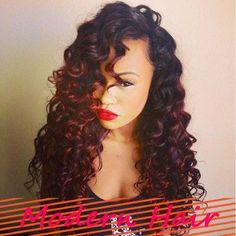 10-24 inch #1B/#99J 120% density virgin Brazilian hair curly glueless full lace wigs two tone red lace wigs for black women $139.00 - 319.00
