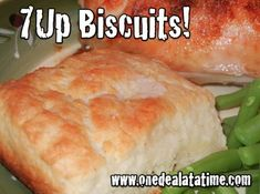 7 UP (or Sierra Mist) Biscuits    2 cups Bisquick  1/2 cup sour cream  1/2 cup 7-up  1/4 cup melted butter    Cut sour cream into biscuit mix, add 7-Up. Makes a very soft dough.  Sprinkleadditionalbiscuit mix onboardor table and pat dough out. Cut biscuits into squares about 3×3. Melt 1/4 cup butter in a 9 inch square pan. Place cut biscuits in pan and bake at 450degreesuntil goldenbrown.