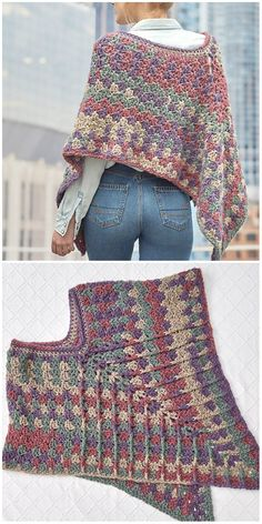 Mountain Breeze Poncho Crochet Mountain Breeze Poncho Crochet Learn the rudiments of how to crocheti Crochet Poncho Patterns, Shawl Patterns, Knitted Poncho, Crochet Cardigan, Knitted Shawls, Crochet Scarves, Crochet Clothes, Crochet Hats, Crochet Dresses