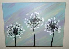 Original Dandelion Acrylic Painting on Canvas by AshleyMadelines