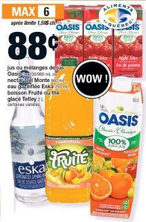 Coupons et Circulaires: .88¢ Jus OASIS 3x200/960ml ou DEL MONTE 960ml ou e...