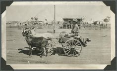 Young boy with a goat cart on a Mount Isa street, ca. 1936