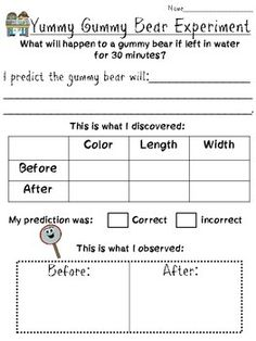 Fun and hands on science activity for your kiddos! Use this reflection sheet with your students as they discover what happens when they place a gummy bear into water ! Students must predict, observe and reflect on their learning, what fun!