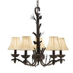 @Overstock - Illuminate your traditionally styled home with this rustic chandelier with shades featuring five lights. This piece has a bronze finish and a twig-and-branch motif that brings to mind woodland adventures and memories of a country childhood.http://www.overstock.com/Home-Garden/5-light-Bronze-Chandelier/5146853/product.html?CID=214117 $69.99