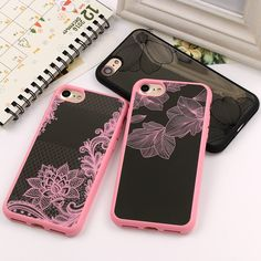 Fashion Brand Mirror flower Sexy lace black pink Phone Case For iPhone 7 7Plus 6 6s Plus 4.7 5.5 inch Electroplate Coque Fundas