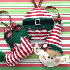 Christmas Elf Ornaments - Whimsical and very Cute Set of Elf Ornaments - handmade and design different shapes. This is a set of 3 , one is a round elf ball , cute elf slipper and a lovely elf face. All of the three handmade ornaments made of felt and fabric also decor with ribbons - Pom